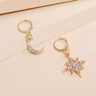 Korea's new star and moon asymmetrical fashion simple trend diamond small earrings wholesale nihaojewelry NHKQ240498's discount tags