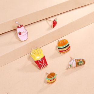 fashion trendy cute set Korea simple retro dripping strawberry burger 6-piece earrings wholesale nihaojewelry NHKQ240500's discount tags