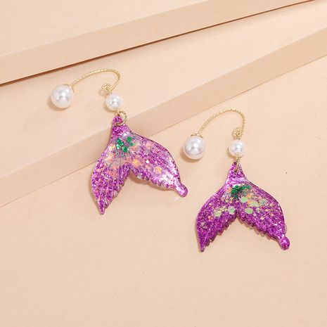 Korean fashion new summer and versatile pearl earrings dream sequined fishtail earrings wholesale nihaojewelry NHKQ240502's discount tags