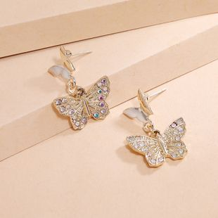 Korean fashion new trend earrings simple retro diamond butterfly earrings wholesale nihaojewelry NHKQ240503's discount tags