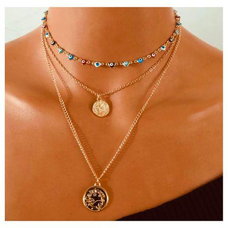 alliage médaillon pendentif collier doré créatif oeil du diable collier multicouche en gros nihaojewely NHCT240505's discount tags