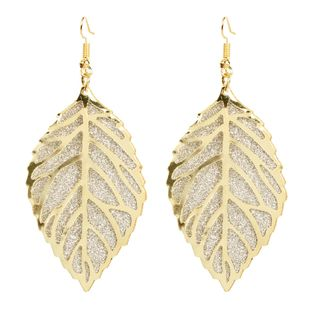 fashion hollow frosted geometric leaf retro style earrings wholesale nihaojewely NHCT240511's discount tags