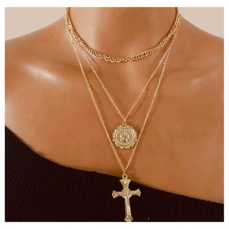 style rétro alliage croix médaillon pendentif mode collier multicouche en gros nihaojewely NHCT240519's discount tags