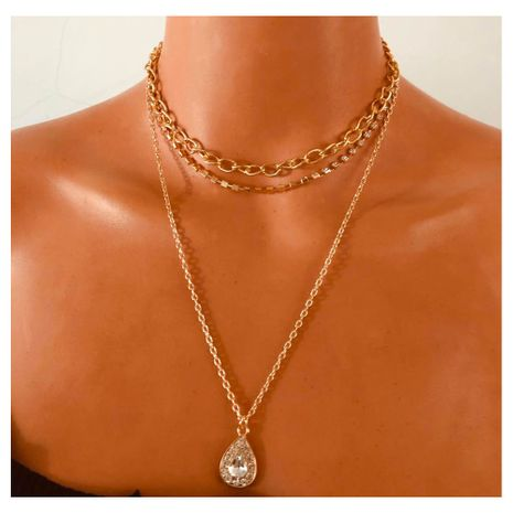 All-Match alliage diamant goutte pendentif collier multicouche en gros nihaojewely NHCT240532's discount tags
