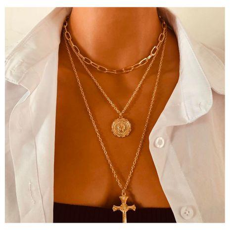 or chaîne épaisse fleur médaillon alliage croix pendentif collier en gros nihaojewely NHCT240536's discount tags