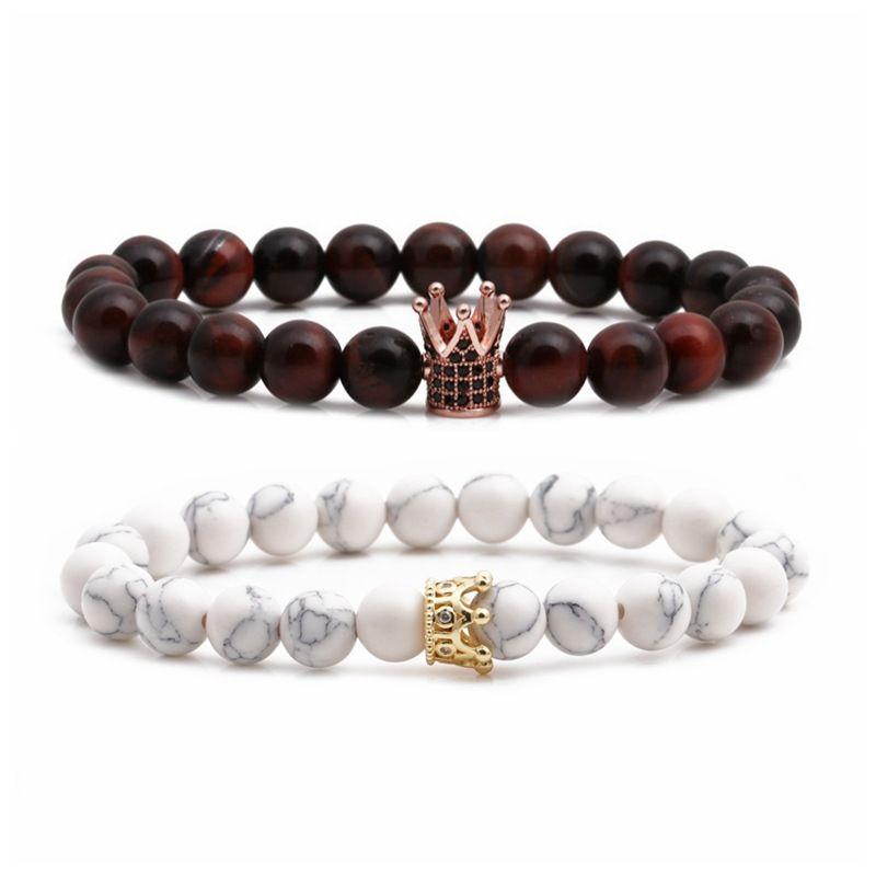 Hot Selling White Pine Tiger Eye Micro-inlaid Zircon Crown Copper Beads Beaded DIY Bracelet wholesale nihaojewelry NHYL240540