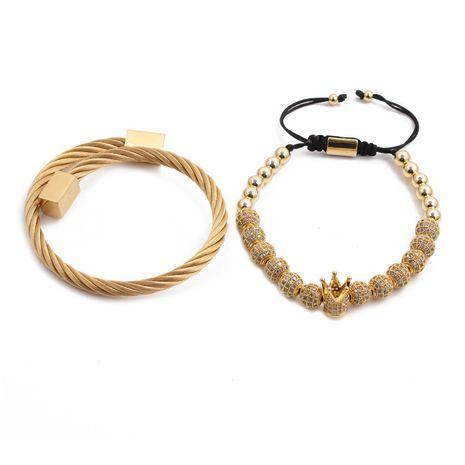 pulsera de acero inoxidable pulsera de bola de diamante ajustable pulsera tejida conjunto al por mayor nihaojewelry NHYL240543's discount tags