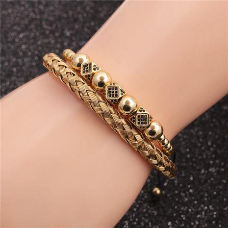 pulsera de acero inoxidable pulsera de bola de diamante ajustable pulsera tejida conjunto al por mayor nihaojewelry NHYL240544's discount tags