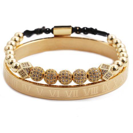 Alfabeto romano pulsera de acero inoxidable bola de diamante ajustable pulsera tejida traje venta al por mayor nihaojewelry NHYL240545's discount tags