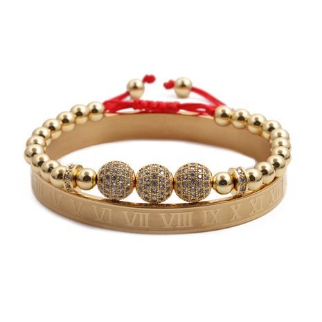 fashion all-match stainless steel bracelet diamond ball adjustable woven bracelet suit wholesale nihaojewelry NHYL240546's discount tags