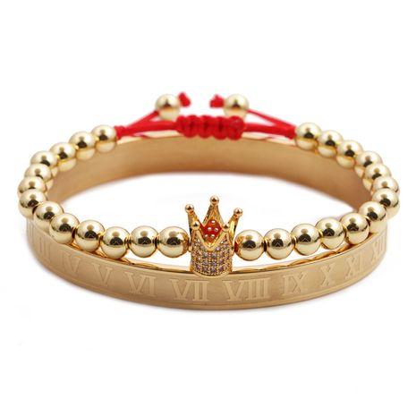 Alphabet romain bracelet en acier inoxydable couronne tissage bracelet réglable ensemble en gros nihaojewelry NHYL240547's discount tags