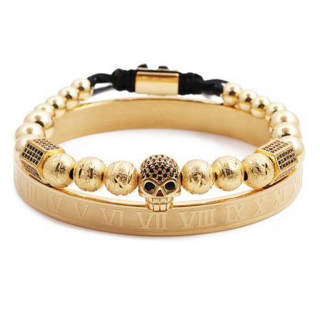 Bracelet en acier inoxydable alphabet romain couronne crâne tissage réglable bracelet pour hommes en gros nihaojewelry NHYL240556's discount tags