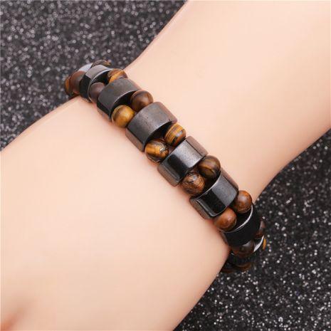 vente chaude oeil de tigre givré pierre hémisphère noir pierre biliaire bracelet perlé en gros nihaojewelry NHYL240558's discount tags