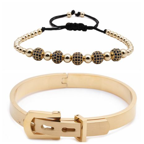 Hot Selling Explosive Roman Letter Stainless Steel Diamond Ball Braided Adjustable Bracelet Set wholesale nihaojewelry NHYL240559's discount tags