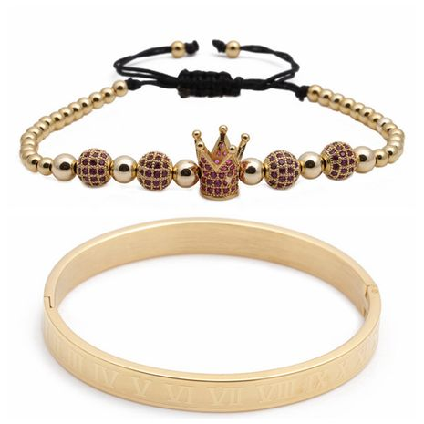 Hot Sale Roman Letter Stainless Steel Diamond Ball Crown Braided Adjustable Bracelet Set wholesale nihaojewelry NHYL240560's discount tags