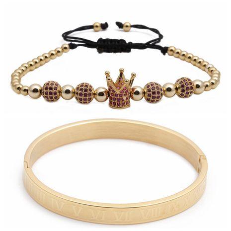 Venta caliente letra romana de acero inoxidable bola de diamante corona trenzada pulsera ajustable conjunto al por mayor nihaojewelry NHYL240560's discount tags