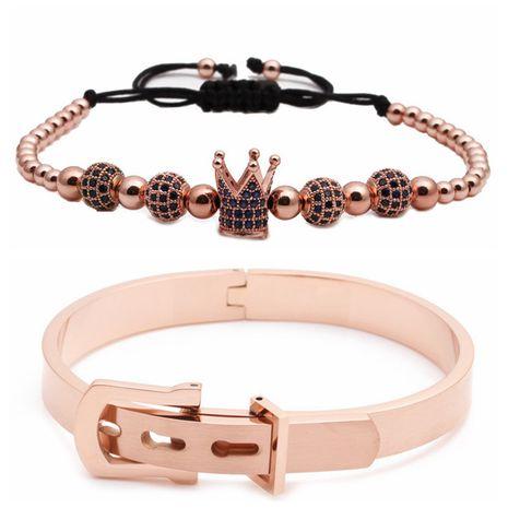 nouvelle vente chaude en acier inoxydable diamant boule couronne tressé bracelet réglable ensemble en gros nihaojewelry NHYL240561's discount tags