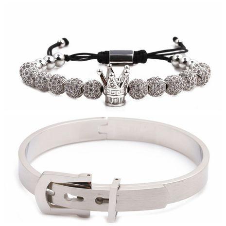 Vente chaude lettre romaine en acier inoxydable couronne diamant boule tressée bracelet ensemble en gros nihaojewelry NHYL240563's discount tags