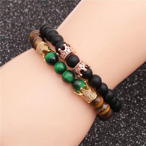 Nouvelle vente chaude givrée pierre oeil de tigre pierre couronne bracelet perlé ensemble en gros nihaojewelry NHYL240566's discount tags