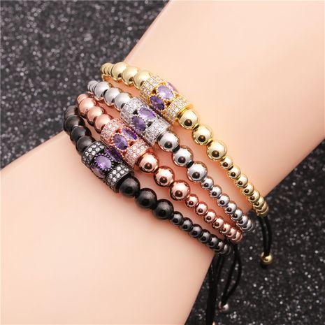 Bracelet taille ajustable en zircon micro-incrusté de perles de cuivre bracelet taille tressée en gros nihaojewelry NHYL240567's discount tags