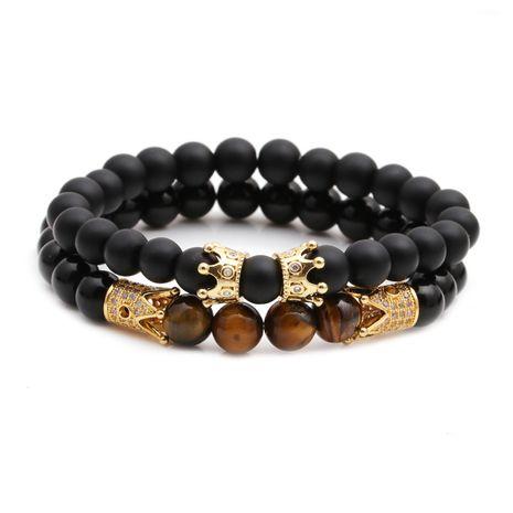 nouvelle vente chaude givré brillant pierre pierre oeil de tigre pierre couronne perlé bricolage bracelet ensemble en gros nihaojewelry NHYL240568's discount tags