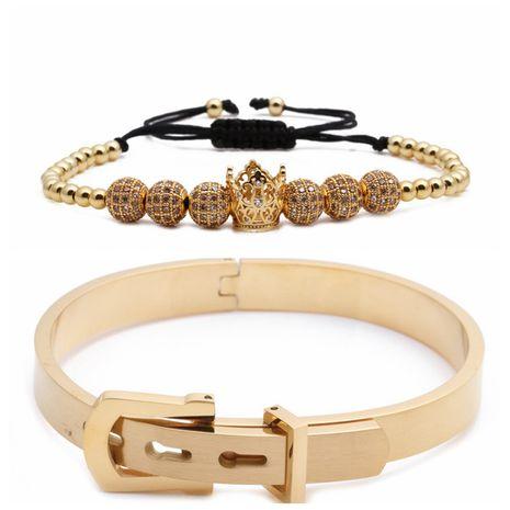 Venta caliente estilo letra romana pulsera de acero inoxidable corona trenzada pulsera ajustable conjunto al por mayor nihaojewelry NHYL240571's discount tags