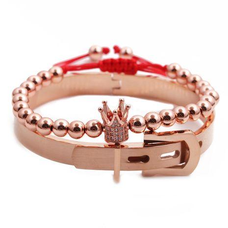 Nueva corona de acero inoxidable ajustable trenzado pulsera hombres y mujeres conjunto al por mayor nihaojewelry NHYL240579's discount tags