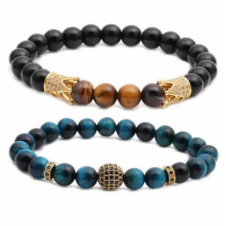 nouveau bracelet oeil de tigre givré pierre couronne diamant boule perlé bracelet ensemble en gros nihaojewelry NHYL240572's discount tags