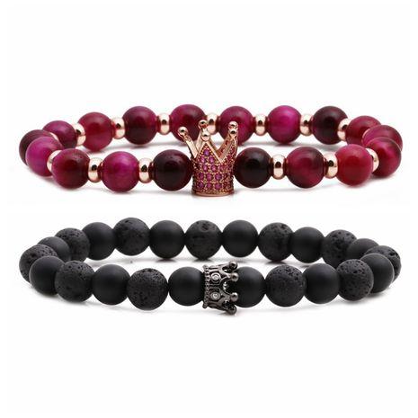 Vente chaude pierre oeil de tigre pierre patinée pierre volcanique stupide pierre noire perlée bracelet bricolage en gros nihaojewelry NHYL240574's discount tags