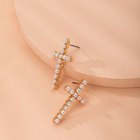 Boucles d'oreilles à la mode simples de perles de croix coréenne en gros nihaojewelry NHAI240581's discount tags