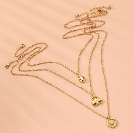 Hot sell alloy fashion hollow pendant multi-layer necklace wholesale nihaojewelry NHAI240583's discount tags