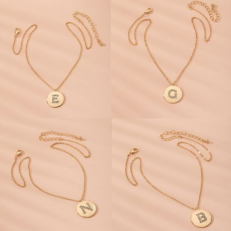 Letter chain pendant fashion simple diamond disc necklace wholesale nihaojewelry NHAI240594's discount tags