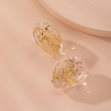 nouvelles boucles d'oreilles en résine créative feuille d'or dames boucles d'oreilles coréennes en gros nihaojewelry NHAI240603's discount tags