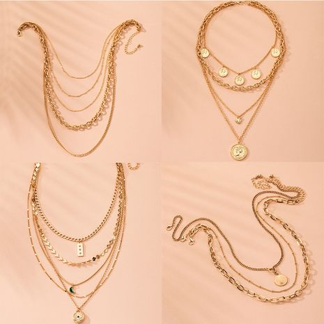 new exaggerated fashion multi-layer lock heart beauty necklace wholesale nihaojewelry NHAI240606's discount tags