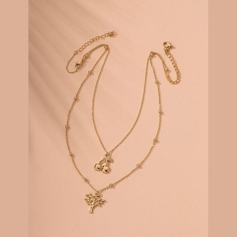 fashion double layer metal texture clavicle chain necklace wholesale nihaojewelry NHAI240612's discount tags