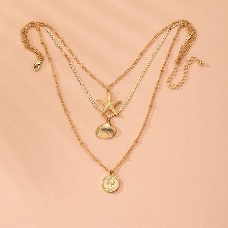 colgante de concha de estrella de mar geométrica diseño de múltiples capas sentido cadena de clavícula collar al por mayor nihaojewelry NHAI240617's discount tags