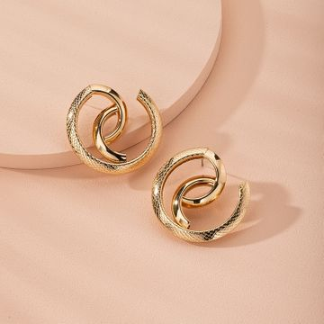snake-shaped high-quality abstract exaggerated trend street earrings wholesale nihaojewelry NHAI240619