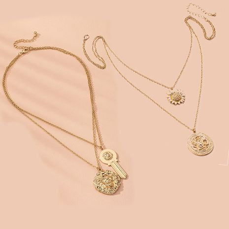 retro lion head thick  double chain hip hop clavicle chain necklace wholesale nihaojewelry NHAI240624's discount tags
