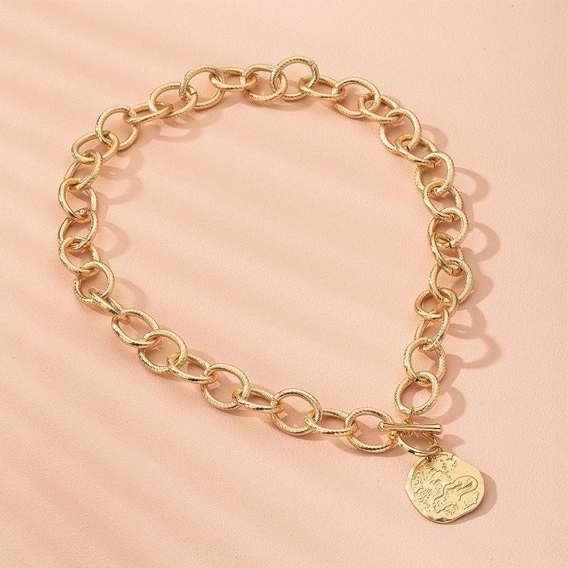 portrait disc thick chain hip hop necklace choker clavicle chain necklace wholesale nihaojewelry NHAI240625