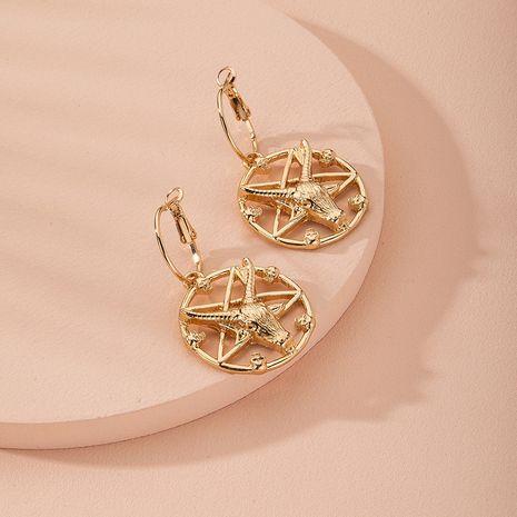 nueva cabeza de toro astrolabio pendientes simples joyas al por mayor nihaojewelry NHAI240626's discount tags
