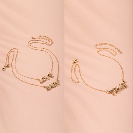 fashion simple diamond-studded disc sweater chain letter necklace wholesale nihaojewelry NHAI240630's discount tags