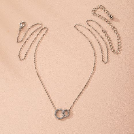 fashion metal double ring chain short necklace wholesale nihaojewelry NHAI240631's discount tags