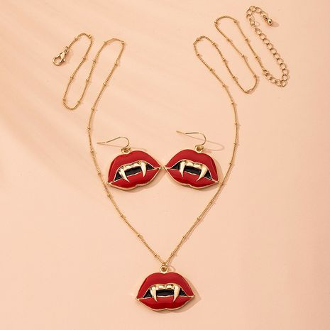 fashion dripping oil redslip with sharp teeth necklace wholesale nihaojewelry NHAI240632's discount tags