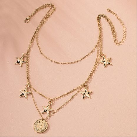 Retro multilayer necklace star coin pendant trend necklace wholesale nihaojewelry NHAI240633's discount tags