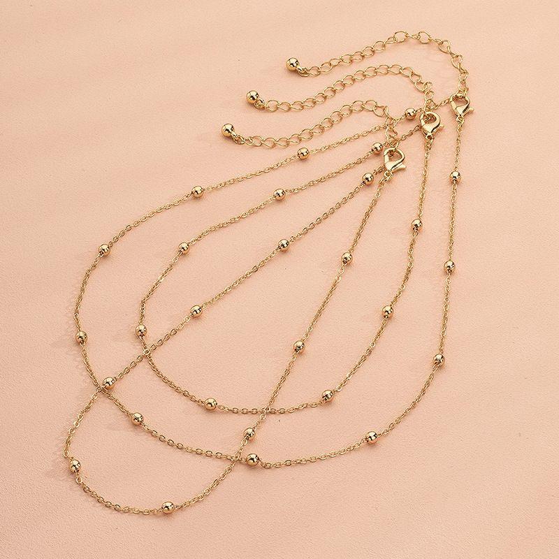 slender spacing beads sense clavicle chain necklace wholesale nihaojewelry NHAI240638