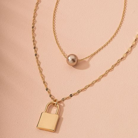 metal lock and beads texture clavicle chain necklace wholesale nihaojewelry NHAI240639's discount tags