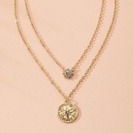 fashion rhombus six-pointed star diamond geometric simple muti-layer necklace wholesale nihaojewelry NHAI240641's discount tags