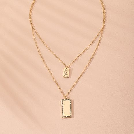 new popular fashion multi-layer moon square diamond pendant women's necklace wholesale nihaojewelry NHAI240645's discount tags
