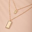 new popular fashion multilayer moon square diamond pendant womens necklace wholesale nihaojewelry NHAI240645