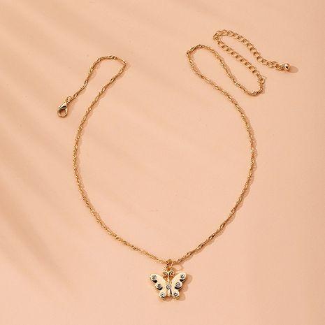 collier papillon rétro serti de diamants collier de chaîne de clavicule en gros nihaojewelry NHAI240646's discount tags